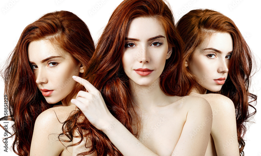 Fototapety, obrazy: Collage of sensual redhead woman with perfect skin.