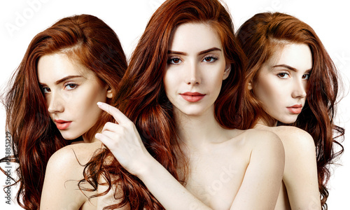 Fotografie, Obraz  Collage of sensual redhead woman with perfect skin.