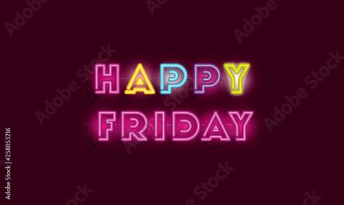 Fotografia  happy friday fonts neon lights