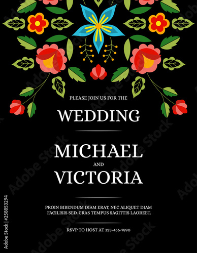 Fototapeta Traditional Wedding Invite Card Template Vector Mexican Save The Date Design Or Party Invitation Polish Folk Pattern On Black Background