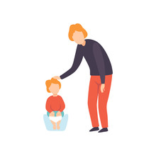 Cute Little Toddler Baby Sitting On Potty, Parent Taking Care Of His Child Vector Illustration