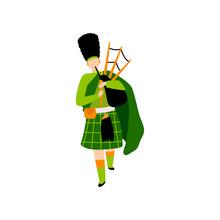 Male Bagpiper In Green Irish C...