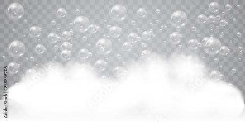 Soap foam with realistic bubbles background for your design Slika na platnu