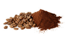 Pile Of Ground Coffee And Coffee Beans Isilated On White