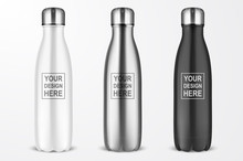 Vector Realistic 3d White, Silver And Black Empty Glossy Metal Reusable Water Bottle With Silver Bung Set Closeup Isolated On White Background. Design Template Of Packaging Mockup. Front View