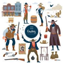 Cowboy, Wild West Set. Flat Isolated Vector Illustration