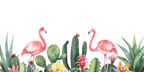 Fototapeta Na meble Watercolor vector banner tropical flowers, Flamingo and cacti isolated on white background.