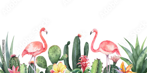 Naklejki Flamingi  watercolor-vector-banner-tropical-flowers-flamingo-and-cacti-isolated-on-white-background
