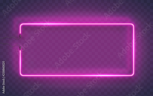 Neon rectangle lamp wall sign isolated on transparent background. Vector pink power glowing bulb banner, light line frame for your design.