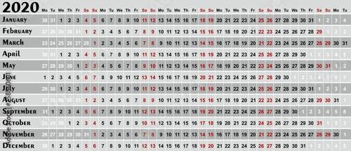 A calendar template for a year 2020. Canvas-taulu