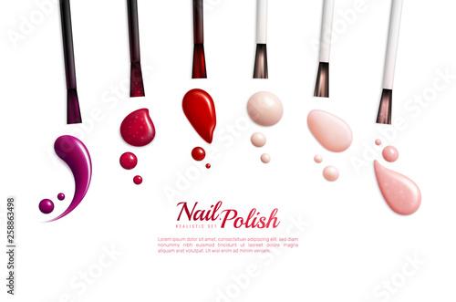 Fotografía Nail Polish Smears Color Realistic Icon Set