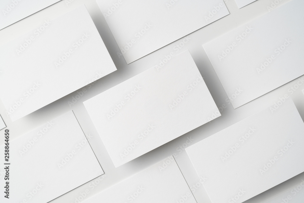Fototapeta top view of business card isolated on white