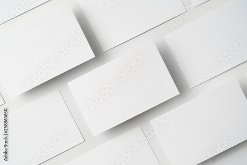 Fototapeta top view of business card isolated on white obraz