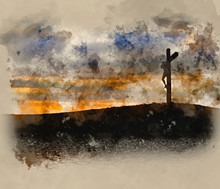 Watercolour Painting Of Jesus Christ Crucifixion On Good Friday Silhouette Reflected In Lake Water