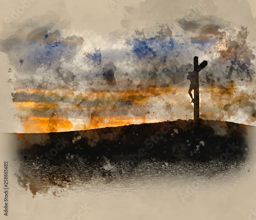Canvas Print Watercolour painting of Jesus Christ Crucifixion on Good Friday Silhouette refle