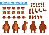 Fototapeta Fototapety na ścianę do pokoju dziecięcego - Brown bear creation set. Various gestures, emotions, diverse poses, views. Create your own pose, animation. Flat style vector illustration