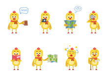 Set Of Chicken Characters Posing In Different Situations. Cheerful Chicken Holding Mug Of Beer, Photo Camera, Map, Magnifier, Reading A Book, Injured, Dizzy. Flat Style Vector Illustration