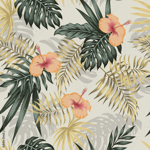 Tapety Vintage  zielone-zloto-rosliny-hibiskusa-bezszwowe-bezowe-tlo