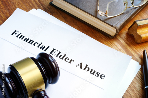 Financial Elder Abuse report and gavel in a court. Wallpaper Mural