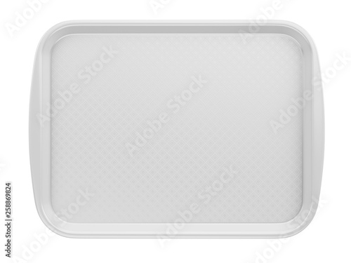 Front view of Empty White Plastic Tray salver with Handles Isolated On White Canvas Print
