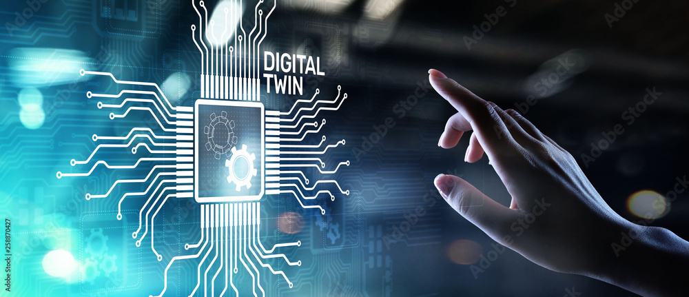 Fototapeta Digital twin business and industrial process modelling. innovation and optimisation.
