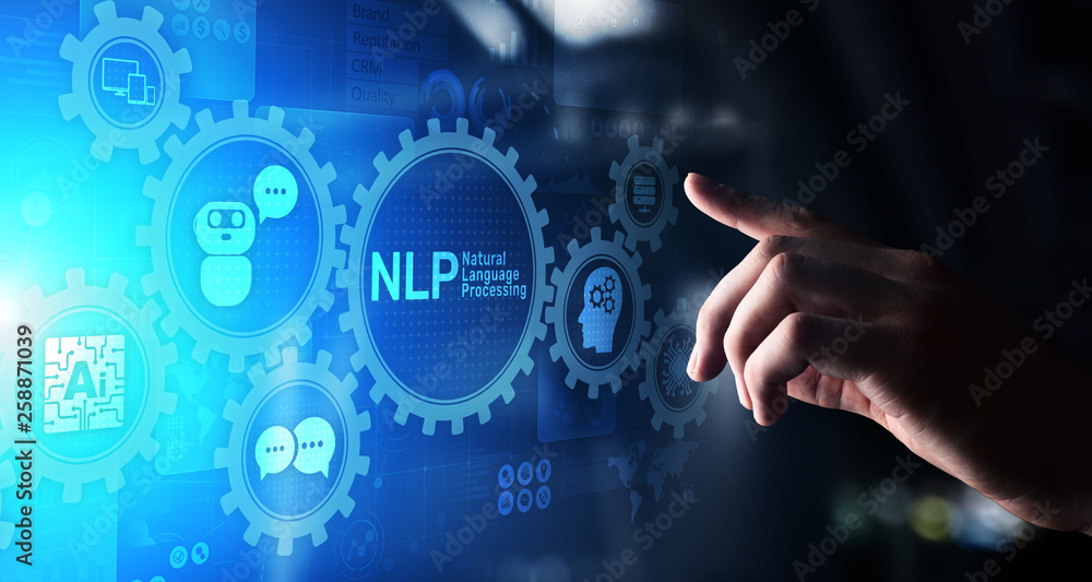 Fototapety, obrazy: NLP natural language processing cognitive computing technology concept on virtual screen.