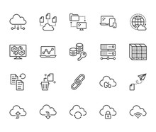 Cloud Data Storage Line Icons Set. Database, Information Storage, Server Center, Global Network, Backup, Download Vector Illustrations. Technology Thin Signs. Pixel Perfect 64x64. Editable Strokes