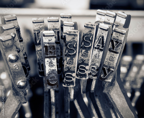 Photo the word ESSAY  with old typwriter keys