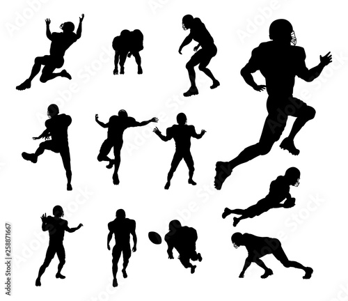 A set of detailed silhouette American Football players in lots of different pose Canvas Print