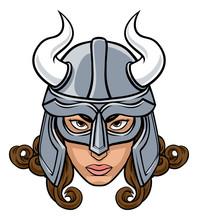 A Mean Looking Viking Woman Warrior Cartoon Character Or Sports Mascot