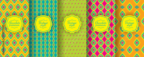 Deurstickers Boho Stijl Ikat seamless pattern. Set of traditional Uzbek backgrounds