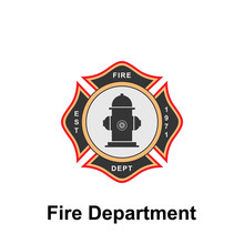 Fire Department, EST. Icon. Element Of Color Fire Department Sign Icon. Premium Quality Graphic Design Icon. Signs And Symbols Collection Icon For Websites
