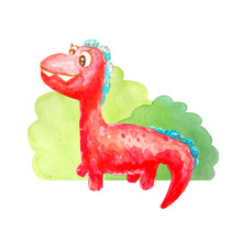 Red Kind Happy Dinosaur Near The Bushes Isolated On A White Background In Watercolor Style