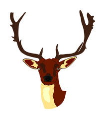 Deer head with antlers vector illustration isolated on white background. Reindeer, proud Noble Deer male trophy. Powerful buck, red deer. Hunter hunting wild animal, symbol of male power.