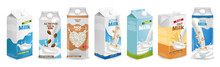 Milk Boxes Set Vector Realistic. Collection Of Regular Milk, Oats, Soy, Rice And Almond Milk. Realistic 3d Illustration Sets