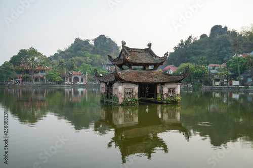 Photo Stands Bangkok Floating temple in Thay Pagoda or Chua Thay, one of the oldest Buddhist pagodas in Vietnam, in Quoc Oai district, Hanoi