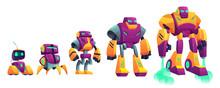 Robots Evolution Cartoon Vecto...