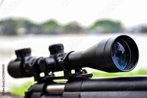 Cuadros en Lienzo Rifle with a scope and bipod