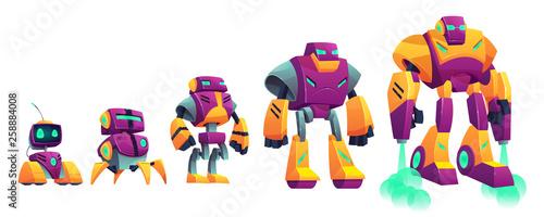 Obraz na plátne Robots evolution cartoon vector isolated illustration on white background