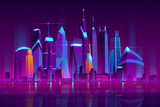 Fototapeta Miasto - Modern city cartoon vector night landscape. Urban cityscape background with skyscrapers buildings on sea shore illuminated with neon light illustration. Metropolis central business district