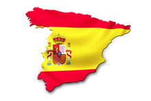 Spain National  Flag Shaped To Country Map