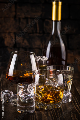Strong alcohol drinks - whiskey, cognac, vodka, rum, tequila. Canvas Print