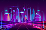 Fototapeta Miasto - Modern city highway in street lamps light neon cartoon vector illustration, three-way high speed motorway near metropolis skyscrapers. Night urban background with glowing buildings in neon colors.