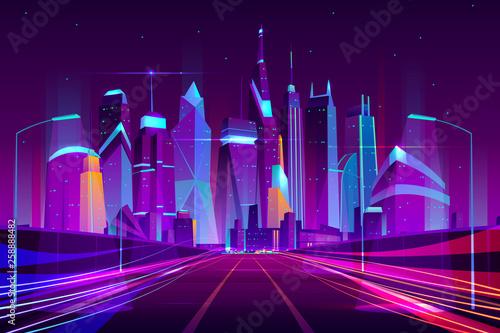 Fotografie, Tablou Modern city highway in street lamps light neon cartoon vector illustration, three-way high speed motorway near metropolis skyscrapers