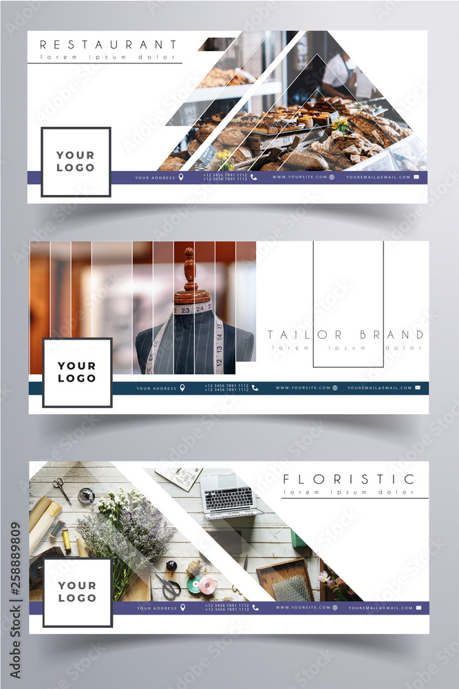 Fototapety, obrazy: Facebook small business corporate small business cover clean white design template. Photo not included