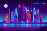 Fototapeta Miasto - Modern new york city cartoon vector night landscape. Urban cityscape background with skyscrapers buildings on sea shore illuminated with neon light illustration. Metropolis central business district