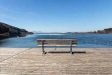 Bench At The Wallersee In Austria