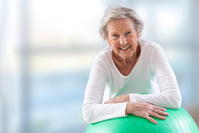 Senior Woman With Fitness Ball...
