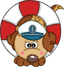 Cute Dog With Sailor Hat On Float