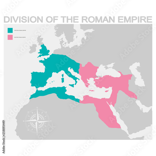 vector map of the Division of the Roman Empire Fototapet